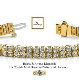 #3CF Natural Hearts & Arrows Super Ideal Cut Diamond 18.20 carat TDW Curved 2 Row Bracelet, 18k Yellow Gold, Each Diamond is 1/5 of a Carat.
