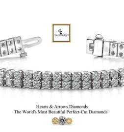 #3DF Natural Hearts & Arrows Super Ideal Cut Diamond 10.40 carat TDW Curved 2 Row Bracelet, 18k White Gold, Each Diamond is 1/10 of a Carat.