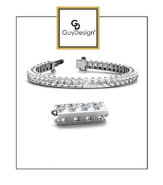 #4AZ 9 inch Men's North Star Diamond Geometric Bracelet, Natural Precise Cut 22 Carat Diamonds, 14k White Gold, Each Round-Cut Diamond is 1/2 of a Carat.