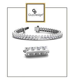 #4AU 8.75 inch Men's North Star Diamond Geometric Bracelet, Natural Precise Cut 21 Carat Diamonds, 14k White Gold, Each Round-Cut Diamond is 1/2 of a Carat.
