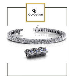 #4BU 8.75 inch Men's North Star Diamond Geometric Bracelet, Natural Precise Cut 31.5 Carat Square-Cut Diamonds, 950 Platinum, Each Diamond is 3/4 of a Carat.