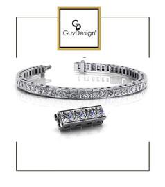 #4BC 7 inch North Star Diamond Geometric Bracelet, Natural Precise Cut 25.50 Carat Square Cut Diamonds, 950 Platinum, Each Diamond is 3/4 of a Carat.