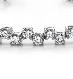 #4CA Natural Hearts & Arrows Super Ideal Cut Diamond 6.72 carat TDW Fanciful Zig Zag Bracelet, Platinum, Each Diamond is 1/8th of a Carat.