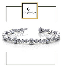 #4DA Natural Hearts & Arrows Super Ideal Cut Diamond 3.52 carat TDW Fanciful Station Bracelet, Platinum.
