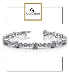 #4DA Natural Hearts & Arrows Super Ideal Cut Diamond 3.52 carat TDW Fanciful Station Bracelet, Platinum.