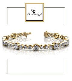 #4DB Natural Hearts & Arrows Ideal Cut Diamond 3.52 carat TDW Fanciful Station Bracelet, 18k Yellow Gold.