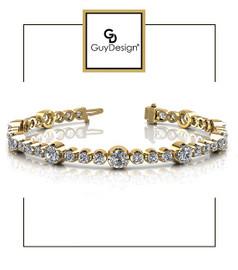 #4DB Natural Hearts & Arrows Super Ideal Cut Diamond 3.52 carat TDW Fanciful Station Bracelet, 18k Yellow Gold.