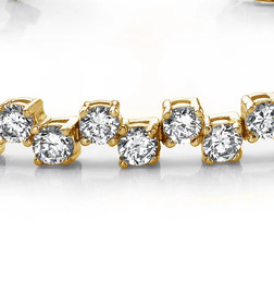 #4CB Natural Hearts & Arrows Super Ideal Cut Diamond 6.72 carat TDW Fanciful Zig Zag Bracelet, 18k Yellow Gold, Each Diamond is 1/8th of a Carat.