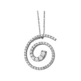 10730 Authentic Journey Natural Diamond & 14K White Gold Spiral 24 inch Cable Link Necklace