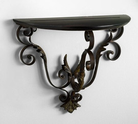 Scrolled Iron, 16 Inch Wall Bracket Sconce, Espresso and Bronze Finish