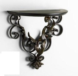 Scrolled Iron, 12.25 Inch Wall Bracket Sconce, Espresso and Bronze Finish