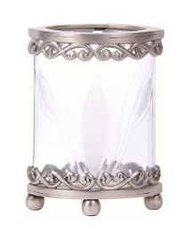 Luxe Life Solid Brass and Glass, 6 Inch Hurricane Candle Holder