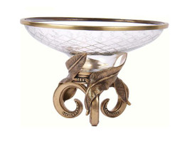 Luxe Life Solid Brass and Cut Glass, 13 Inch Round Centerpiece | Bowl