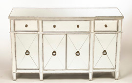 """Silver Mirror - 37""""t X 60""""w X 20""""d Console, Sideboard - Contemporary Modern Style, 6113"""
