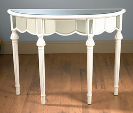 """Silver Mirror - 36""""t X 26""""w X 14""""d - Demilune Console, Entry Table, 6112"""