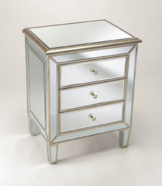 """Silver Mirror - 30.5""""t X 24""""w X 18""""d Bedside Chest - Contemporary Modern Style Mirrored Bedside Chest, 6111"""