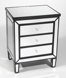"""Silver Mirror - 30.5""""t X 24""""w X 18""""d Bedside Chest - Contemporary Modern Style Mirrored Bedside Chest - Black Finish, 6110"""