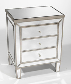 """Silver Mirror - 30.5""""t X 24""""w X 18""""d Bedside Chest - Contemporary Modern Style, 6109"""