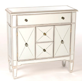"""Silver Mirror - 36""""t X 36""""w X 13""""d Entry Chest, Sideboard - Contemporary Modern Style, 6107"""