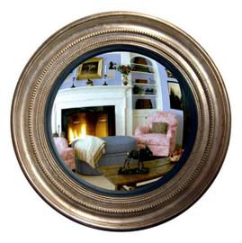 "Classic Elements, 25.25""t x 25.25""w Round Shape Convex Glass Reproduction Mirror, Custom Finish, 6103"