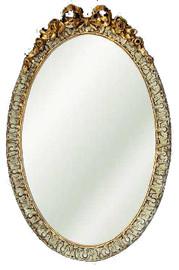 "Classic Elements, 28""t x 18""w Oval Shape Beveled Glass Reproduction Mirror, Custom Finish, 6102"