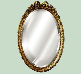 "Classic Elements, 28""t x 18""w Oval Shape Beveled Glass Reproduction Mirror, Custom Finish, 6095"