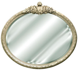 "Classic Elements, 47"" Oval Shape Beveled Glass Reproduction Mirror, Custom Finish, 6075"