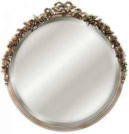 """Classic Elements, 31"""" Round Shape Beveled Glass Reproduction Mirror, Silver Parcel Gilt Finish, 6065"""