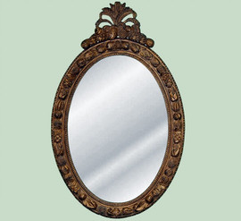 """Classic Elements, 50"""" Oval Shape Plate Glass Reproduction Mirror, Custom Finish"""