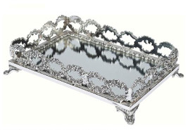 """Luxe Life - Silver and Glass Mirror, Display or Vanity Wreath Tray, Romance, Rectangular 11""""L X 7""""D X 3""""T, 6046"""