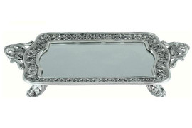 Luxe Life Silver and Glass Mirror - Rectangular 22 Inch Footed Display or Vanity Tray - Baroque Styling