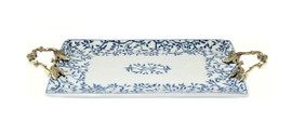 Luxe Life Finely Finished Hand Painted Blue and White Porcelain and Gilt Bronze Ormolu, Rectangular 15 Inch Display or Vanity Tray