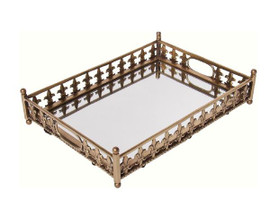 """Luxe Life Solid Brass and Mirror, Rectangular 16"""" Display or Serving Tray, Fleur De Lis Motif, 6042"""