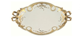 Luxe Life Finely Finished Hand Painted Porcelain and Gilt Bronze Ormolu, Oval 12 Inch Display or Vanity Tray, Scalloped Edge