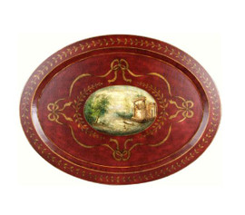 Luxe Life Hand Painted Hardwood, Greek Column Ruins, Ribbons and Bows, Oval 35L x 26W Display or Serving Tray