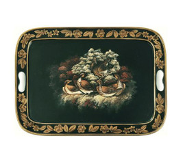 Luxe Life Hand Painted Hardwood, Avian Scene, Rectangular 22L X 16W Display or Serving Tray