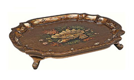 Luxe Life Hand Painted Hardwood, Oval 28 Inch Display or Serving Footed Tray, Scalloped Edge