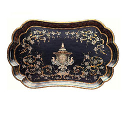 Luxe Life - Hand Painted Hardwood, Scrolls and Urn Motif, Oval, Scalloped, Display or Serving Tray, 30L X 19w