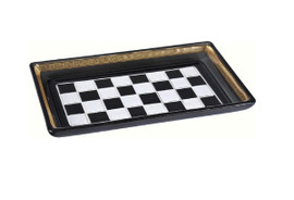 Luxe Life Finely Finished Black and White Checkerboard Glass, 12 Inch Decorative Tray