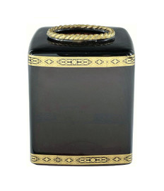 Luxe Life Polished Brown Glass and Gilt Bronze Ormolu, 6 Inch Tissue Box