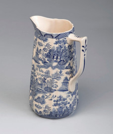 Blue and White Porcelain Transferware Decorative Pitcher | Vase - 8.5t x 4.5d x 6w