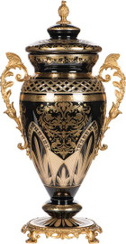 """Finely Finished Cut Ebony Black Glass Urn with Ormolu Mounts 19"""" - Luxe Life Brand"""