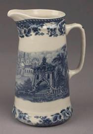 Blue & White Porcelain Transferware Decorative Pitcher | Vase - 5w X 4d X 7t