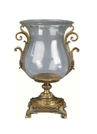 Luxe Life Finely Finished Glass and Gilt Bronze Ormolu, 13 Inch Hurricane Candleholder