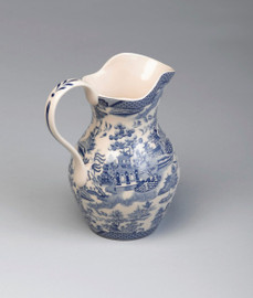 Blue and White Porcelain Transferware Decorative Pitcher - 4.5w X 6d X 7t