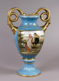 Luxury Hand Painted Reproduction Sevres Style Porcelain, 20 Inch Tabletop | Mantel Vase - Courting