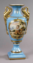 Luxury Hand Painted Reproduction Sevres Style Porcelain, 19.75 Inch Tabletop | Mantel Vase