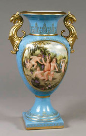 Luxury Hand Painted Reproduction Sevres Style Porcelain, 17 Inch Tabletop | Mantel Vase 5963 AAA 58245 - Contemporary Porcelain in Sevres Style