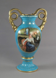 Luxury Hand Painted Reproduction Sevres Style Porcelain, 27 Inch Tabletop | Mantel Vase - Contemplation