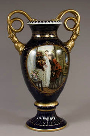 Luxury Hand Painted Reproduction Sevres Style Porcelain, 27 Inch Tabletop | Mantel Vase - Curiosity
